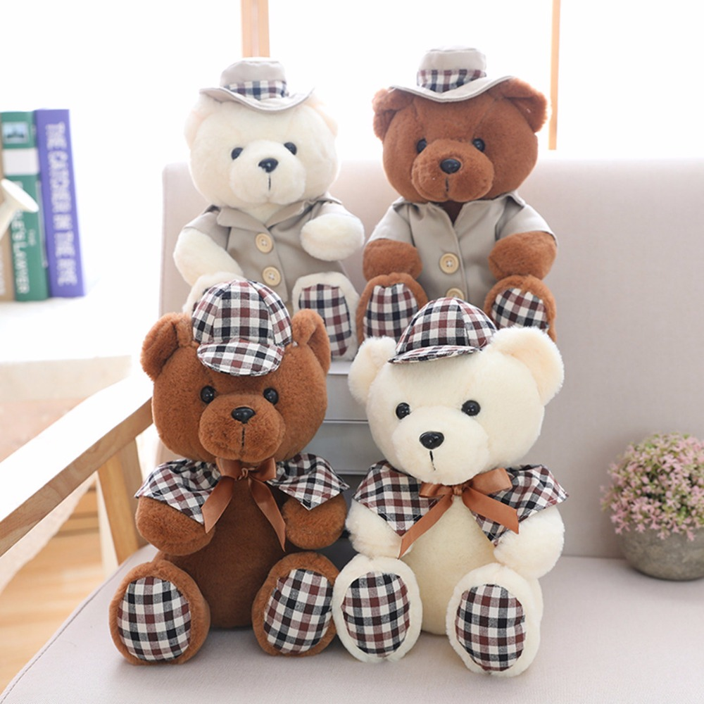 1pc Kawaii Plaid sitting bear toy Wear Hat Courtesy two Colors Lovely doll Nice Bedroom Sofa Decor Cute Gifts for Child Friend