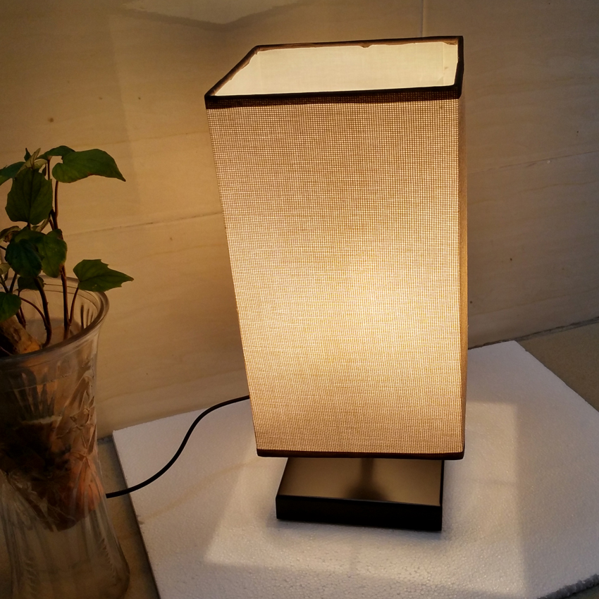 Modern Brief Bedside Lamp Wooden Base Cloth Shade Woode Table For Living Room Bedroom Study Desk Lighting Fixture In Led Lamps From