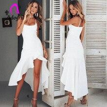 slim swallow tail ruffle spaghetti strap lady dress off collar pleated solid brief vintage dress asymmetrical dress недорого