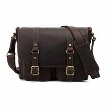 Men Bags Genuine Leather Bag Vintage Business Bag crazy horse leather Briefcase Handbag Shoulder Messenger Travel Bags LI-1191