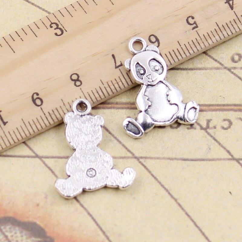 Tibetan Silver Cute Teddy Bear with Flower Charm 10 per pack