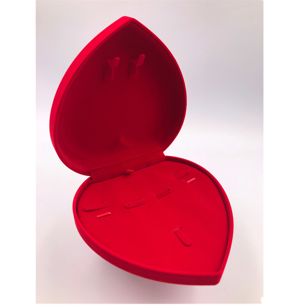 1PC Heart Shaped Necklace Earring Ring Gift Wedding Jewelry Display Storage Case Flocking Packaging Set Box QLY9724