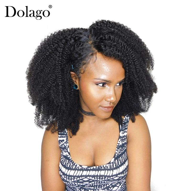 Afro Kinky göndör csipke bezárása mongol szűz haj természetes fekete színű előbefogott baba haj 4B 4C Dolago 100% emberi haj