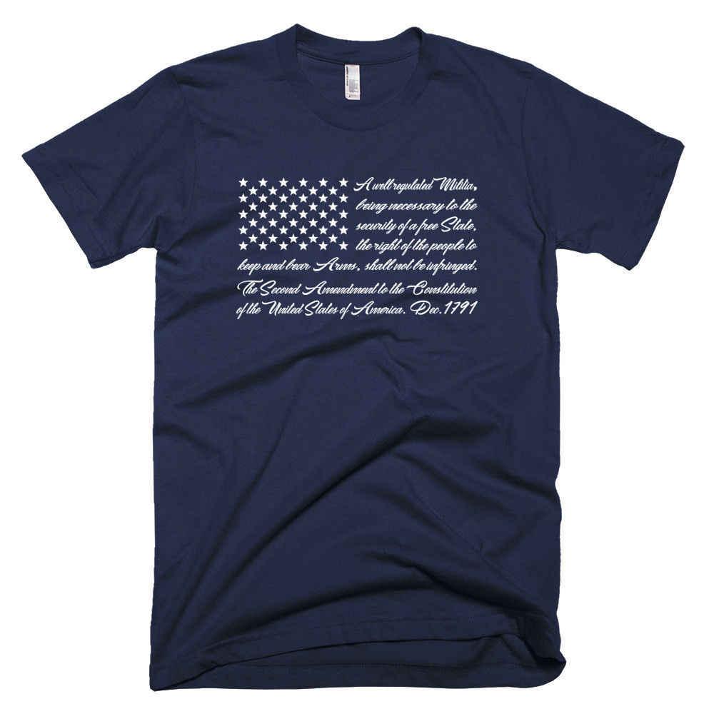第二 2nd 改正アメリカ国旗、愛国銃右メンズ Tシャツ 064