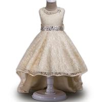 3 10 Yrs Girls Dress 2017 Summer High Quality Sleeveless Trailing Princess Dress For Girls Wedding