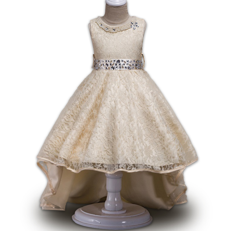 Lace 3-14 Yrs Girls Dress Summer High quality Lace Sleeveless Trailing Princess Dress For Girls Wedding Birthday Party Clothes ems dhl free shipping toddler little girl s 2017 princess ruffles layers sleeveless lace dress summer style suspender