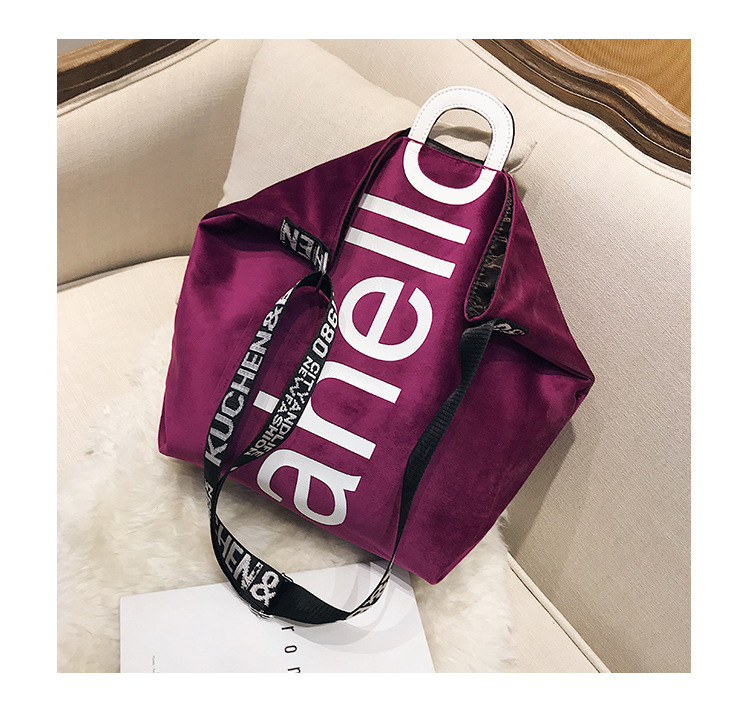 HTB1Uo0OXEjrK1RkHFNRq6ySvpXaG - New Large-capacity Velvet Handbag Fashion Lady Letter Shoulder Crossbody Bag High Quality Women's Shopping Bag Tote