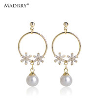 Madrry Freshwater Pearls Drop Earring Pearl Cubic Zirconia Dangle Earrings Jewelry For Women Girls Daily Party Accessories Gifts