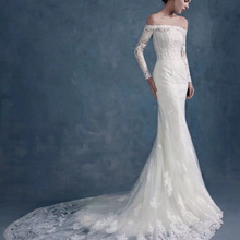 2019 New Fashion Strapless Long Sleeve  Lace Mermaid Wedding Dresses Tulle  Court Train Zip Back Floor Length Wedding Dress