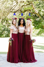 2018 Custom Make Long Junior Maid of Honor Wedding Party gown Guest Cheap Two Tone Rose Gold Burgundy Country Bridesmaid Dresse