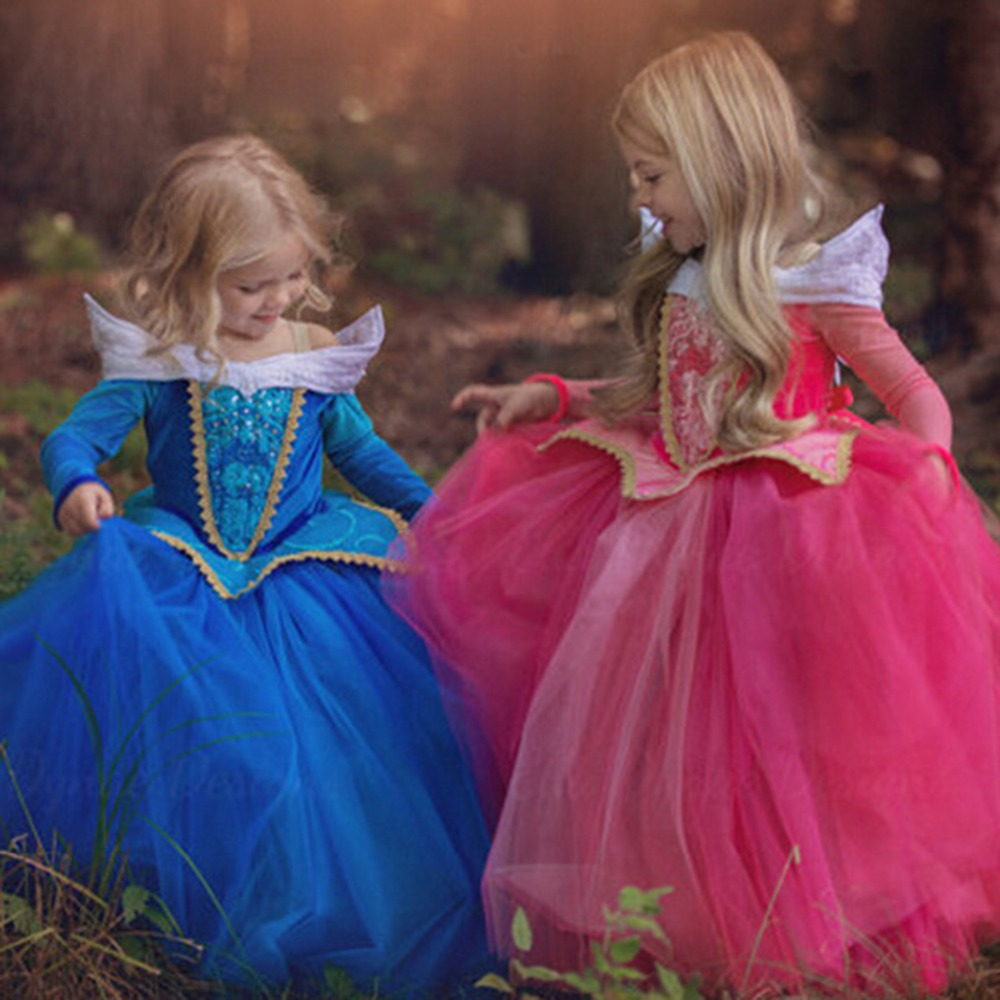 2017 Princess Baby Girls Party Dress Long Sleeping Beauty Costume Gown Cute Girl Dresses Pink Patchwork Cartoon Dress sleeping beauty princess costume spring autumn girl dress 2017 pink princess aurora dresses for girls party costume free ship