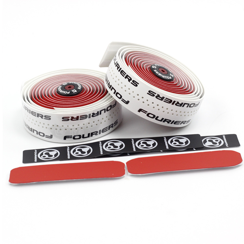 Fouriers PU Drop Handlebar Tape Fixed Gear Racing Wrap 3mm x 200cm Bar Plugs Red