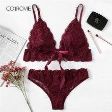 COLROVIE Burgundy Scalloped Trim Lace Lingerie Set 2018 Women Bra & Brief Sets Wireless Transparent Sexy Underwear Bra Set
