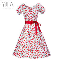 Yilia Print Dress Women Ladies Short Sleeve 2017 Plus Size Bodycon Dress Fit Flare Summer Casual