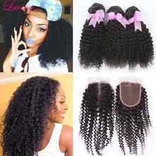 7A Mongolian kinky curly Virgin hair with Lace closure 3 Bundles human hair weave with closure