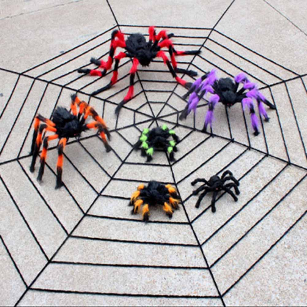 2018 Halloween Spider Web Net Toys Gadget Fun Spider Webs Prank Accessory Tricky Halloween Toys For Party Bar Haunted House