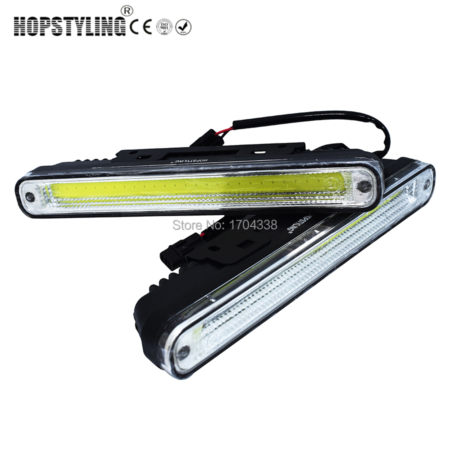 Hopstyling 2pcs White Universal DC 9V-30V COB LED Daytime Running Light Super Car DRL Lamp with Installation Bracket Vehicles