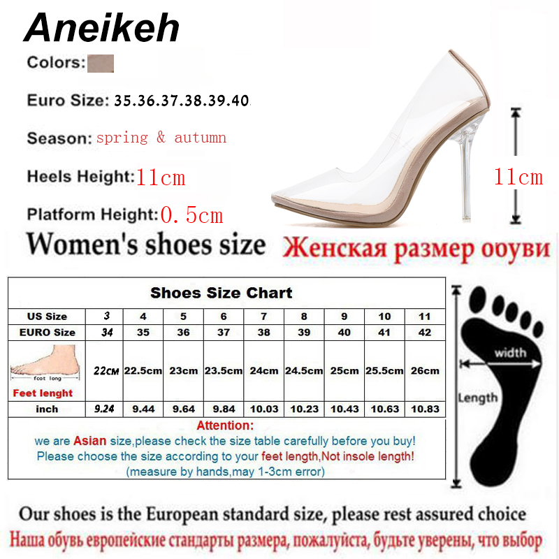 Aneikeh 2019 Concise Fashion PVC Woman Transparent Sandals Thin High Heels Shoes Pointed Toe Pumps Slip On Solid Apricot 35-42