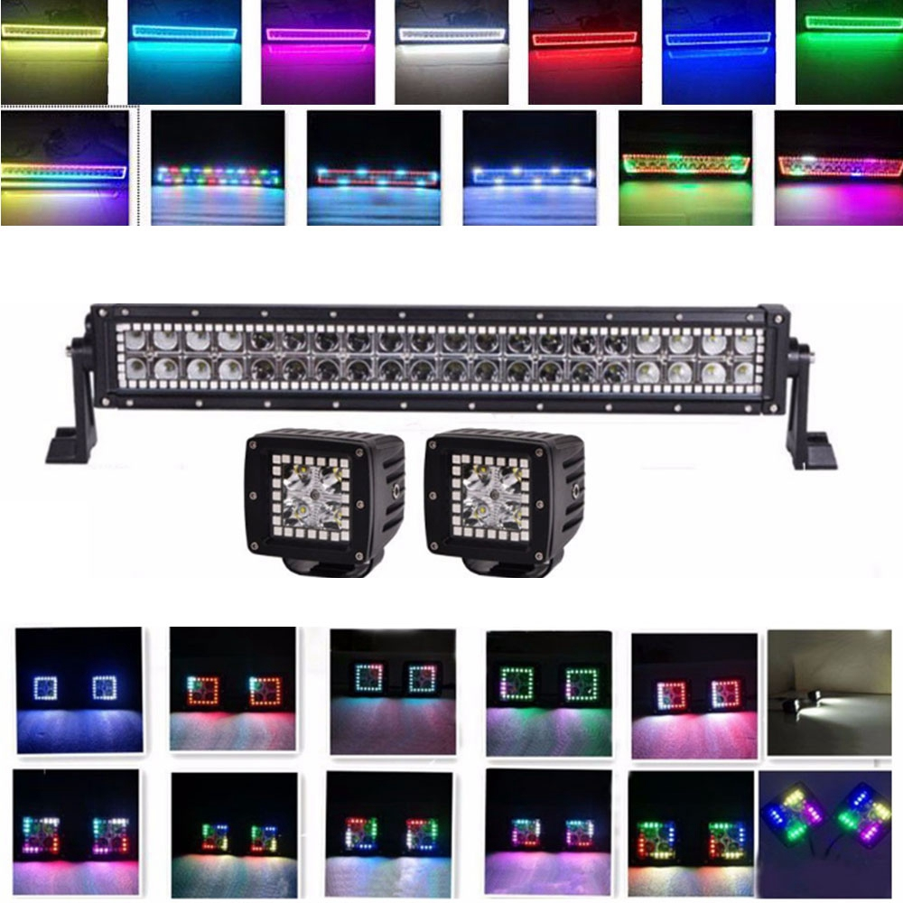 2pcs 3 Inch 12w Chasing Flowing RGB led work light 1pcs 120w 22inch RGB Led Light