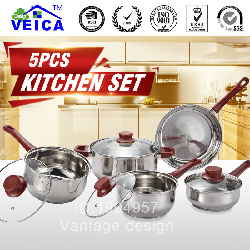 tencere 2018 top fda quality high grade 5 peices cookware set cooking pots with frying pan. Black Bedroom Furniture Sets. Home Design Ideas