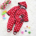 12 M красный узор в горошек детские комбинезоны зима дети в одежда комбинезоны для малышей младенцы костюм Footsies унисекс младенцы одежда