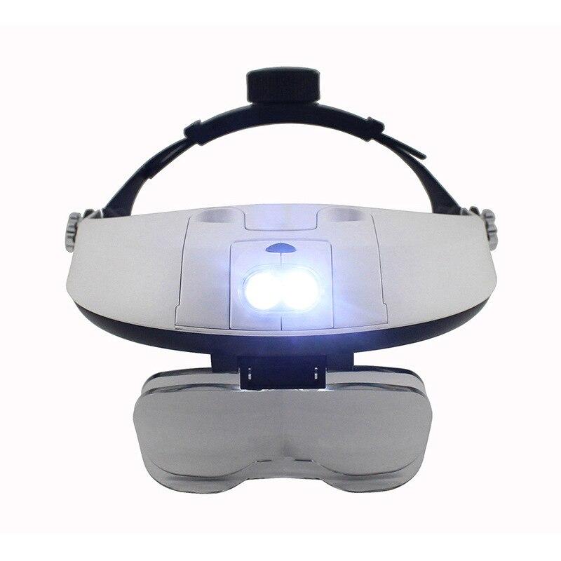 HSEAYM Binoculars Telescope 2 LED High-grade Head Helmet Magnifier Magnifying Glass Eye Loupe Repair Reading Function