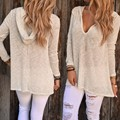 Sping Autumn Knitted Tops Sexy V Neck Women Hooded Sweater Solid Pullover Femme Loose Long Sleeve Elastic Knitwear u2