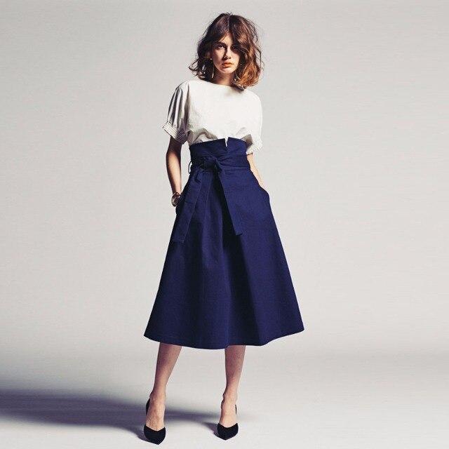d3d165ddc € 32.05 11% de DESCUENTO 2018 Vintage 1950s faldas de longitud azulada para  mujeres con Pocktes Sash Bow media pantorrilla elegante falda hecha a ...