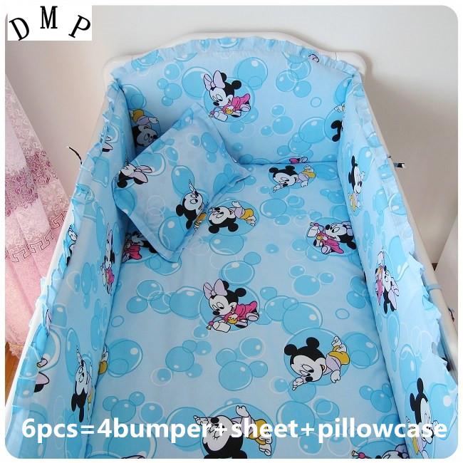 Promotion! 6PCS Cartoon Baby Bedding Printing Embroidery Crib Bedding Set (bumper+sheet+pillow cover)