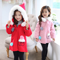 Girl Woolen Winter Coat 2016 New Winter girls Cartoon woolen jacket coat Kids Fur collar wool coat Hooded child Fashion coat