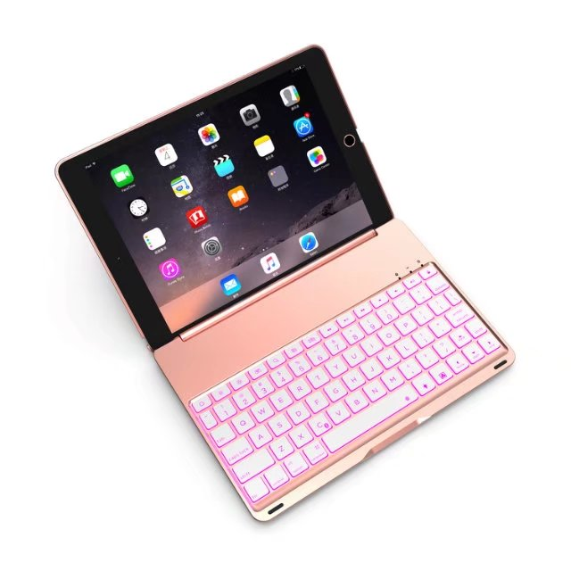 High Quality 7 Colors Backlit Light Aluminum Alloy Wireless Bluetooth Keyboard Case Cover For iPad 9.7 New 2017 A1822 A1823 new aluminum keyboard cover case with 7 colors backlight backlit wireless bluetooth keyboard