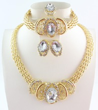 Free Shipping New African Gold Plated Jewelry Sets For Women Wedding Accessories Gold Plated Rhinestone Jewelry Sets