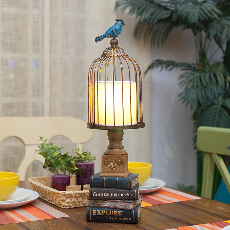 Nordic Brief Decorative Blue Bird Table Lamp Bedroom/Living Room Table Modern Lamps Luxury High 58cm Birdcage Iron Table Lightin modern brief fashion ofhead lamps table lamp