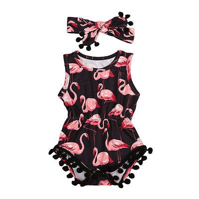 2 Pz/set Di Estate Del Bambino Neonate Senza Maniche Flamingo Nappa Romper + Heanband 2 Pz Tuta Outfit Prendisole Abbigliamento