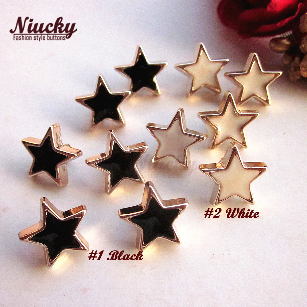 Niucky 12.5mm Shank Black / White epoxy gold star decorative buttons for craft wedding headwear sewing accessories P0306d-006