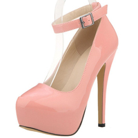 Plus Size Wedding Bridal Shoes Ankle Strap Women Pumps Platform Ultra Very High Heels Stilettos Pink