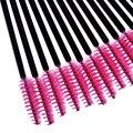 New 50pcs/lot Hot Pink Synthetic Fiber One-Off Disposable Eyelash Brush Mascara Applicator Wand Brushes Eyelash Comb Brushes