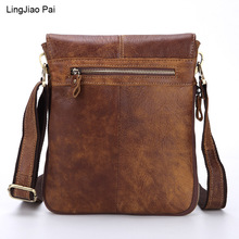 LingJiao Pai 2017 top cow genuine leather travel zipper shoulder  bag versatile casual men soild messenger bags for men
