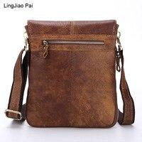 LingJiao Pai 2017 Top Cow Genuine Leather Travel Zipper Shoulder Bag Versatile Casual Men Soild Messenger