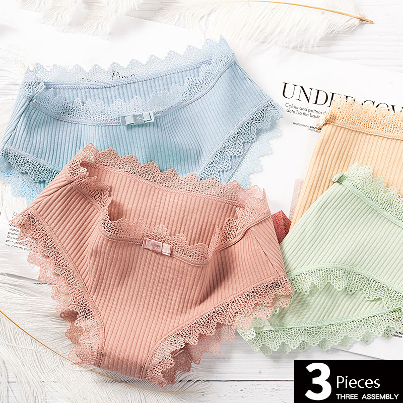 Feilibin 3Pcs/lot Sexy Lace Panties Women Cotton Underwear Seamless Solid Girls Briefs Lingerie Breathable Ladies Underpants