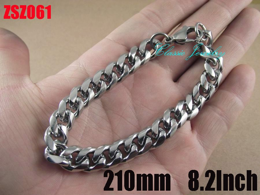 Wholesale - 10mm fashion 316L stainless steel bracelet 210mm 8.2Inch man Jewelry Brace lace bangle chains ZSZ061