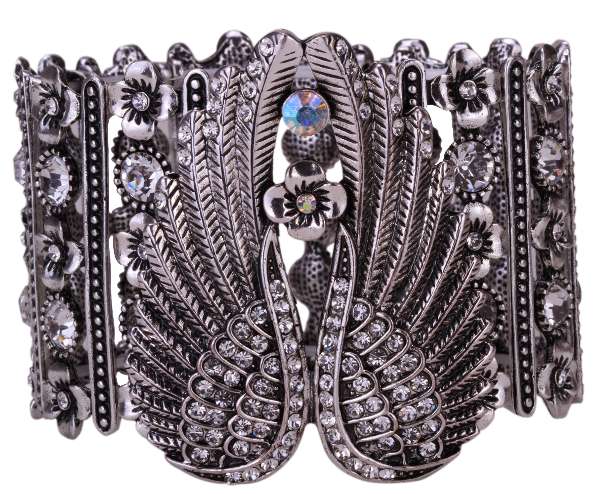 Guardian Angel Wings - Stretch Cuff Bracelet for Women - Crystal Jewelry Antique Silver with Gem Stones - I Love Fashion 365 - Zovasa