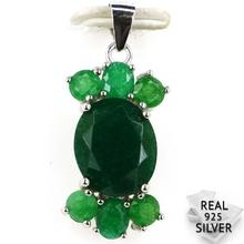 Guaranteed Real 925 Solid Sterling Silver 2.8g New Arrival Real Green Emerald CZ Ladies Woman's Pendant 28x13mm