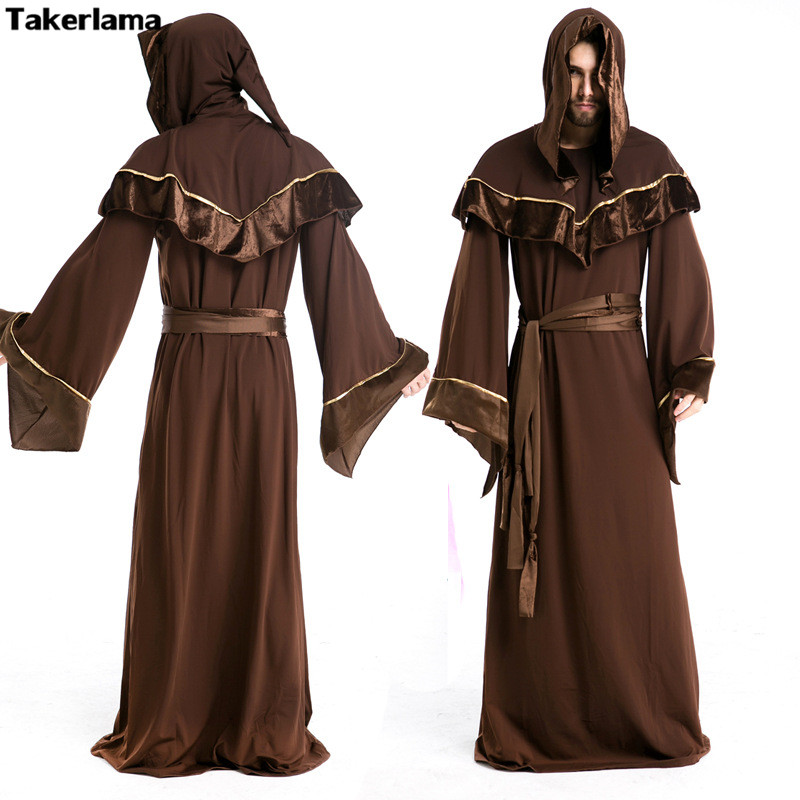witch male costume halloween gothic costumes wizard priest cosplay adult european religious mens priests clothes novelty