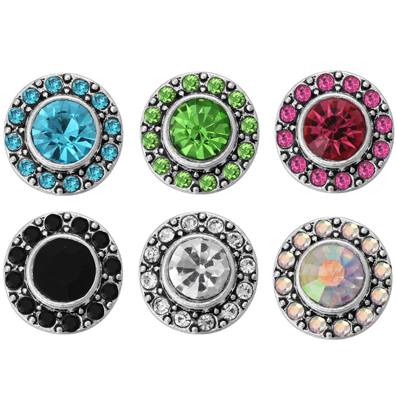 10pcs/lot New Arrival 12mm snap jewelry Rhinestone Round Mini Buttons Charms For 12mm Snap Earring DIY Accessories ZL066 image