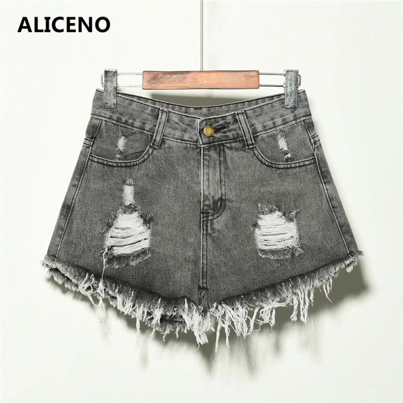 ALICENO NEW 2019 Hot Summer High Waist Hole Tassel Women Plus Size Denim Jeans   Shorts   Casual   Shorts   Plus Size S-6XL