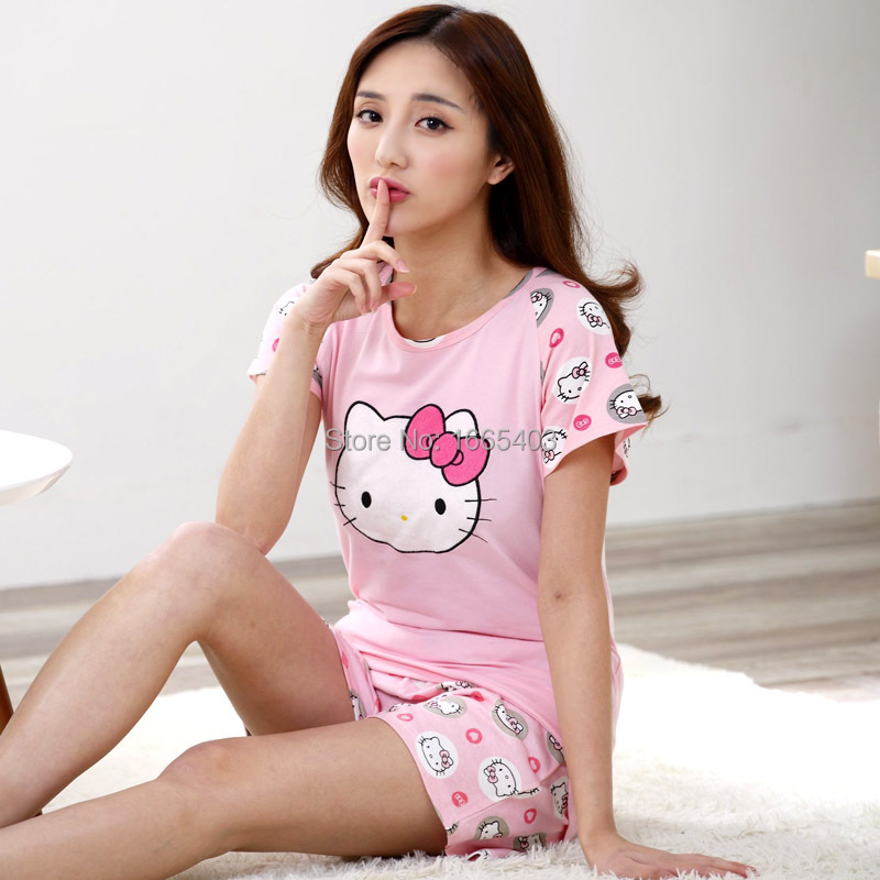 Free shipping Women s cotton cute korean pjs mother daughter pajamas Sets Ladies  Sleepwear girls night suit funny home clothing-in Pajama Sets from ... 32a8980c9