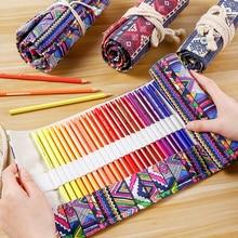 лучшая цена 36/48/72 Roll School Pencil Case Kawaii Canvas Pen Bag Penal for Girls Boys Cute Large Pencilcase Penalties Box Stationery