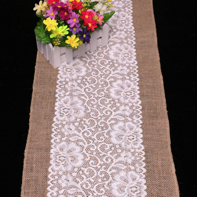 High Quality New Burlap Hessian Center White Lace Band