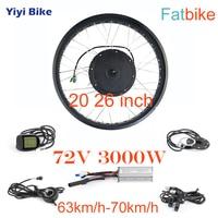 72V 3000W Electric Fat Bike DC Controller Brushless Motor Controller Conversion Kit 20 26 inch Fatbike Motor Wheel Snowmobile